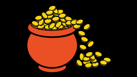 Money Jar icon Line Drawing Animation Transparent Vector Motion Graphics Loop Animation