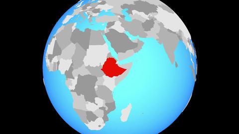 Zooming to Ethiopia on globe Animation