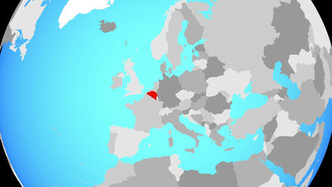 Zooming to Belgium on globe Animation