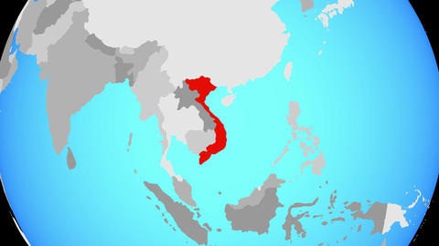 Zooming to Vietnam on globe Animation