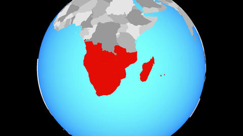 Zooming to Southern Africa on globe Animation