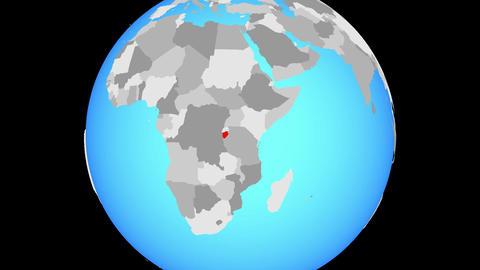 Zooming to Burundi on globe Animation
