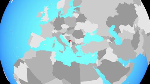 Zooming to Montenegro on globe Animation