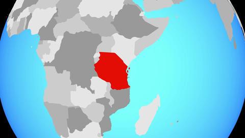 Zooming to Tanzania on globe Animation
