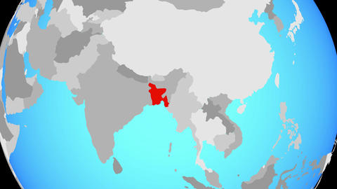 Zooming to Bangladesh on globe Animation