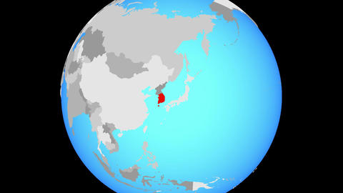 Zooming to South Korea on globe Animation