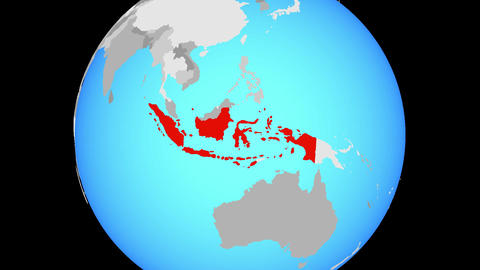 Zooming to Indonesia on globe Animation