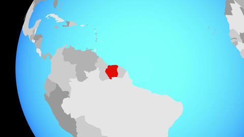 Closing in on Suriname on blue globe Animation