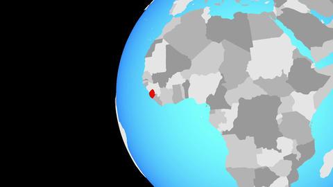 Closing in on Sierra Leone on blue globe Animation