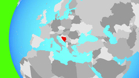 Closing in on Bosnia and Herzegovina on blue globe Animation