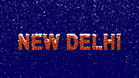 New Year text capital name NEW DELHI. Snow falls. Christmas mood, looped video. Animation