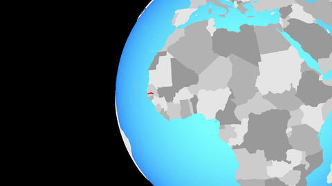 Closing in on Gambia on blue globe Animation