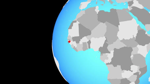 Closing in on Guinea-Bissau on blue globe Animation