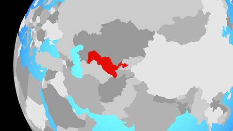 Closing in on Uzbekistan on blue globe Animation