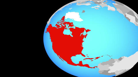 Closing in on North America on blue globe Animation