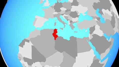 Zooming to Tunisia on globe Animation