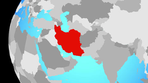 Closing in on Iran on blue globe Animation
