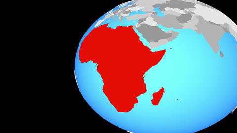 Closing in on Africa on blue globe Animation