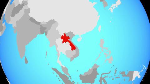 Zooming to Laos on globe 애니메이션