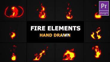 Cartoon Fire Elements Motion Graphics Template
