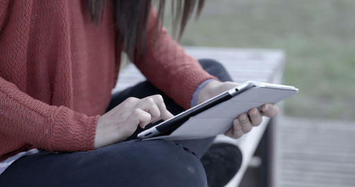 Woman with Ipad outdoors – 4k Stock Video Footage