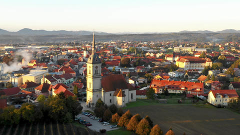Aerial Panorama view of small medieval european town Slovenska Bistrica, Footage