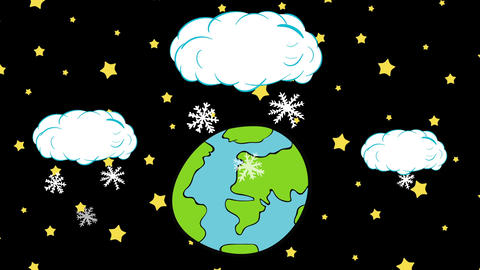 Snow falls on the planet and stars Animation