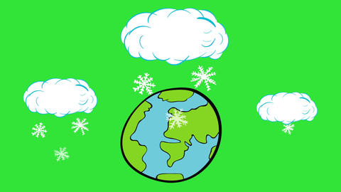 Snow falls on the planet green Animation
