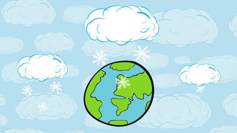 Snow falls on the planet 애니메이션