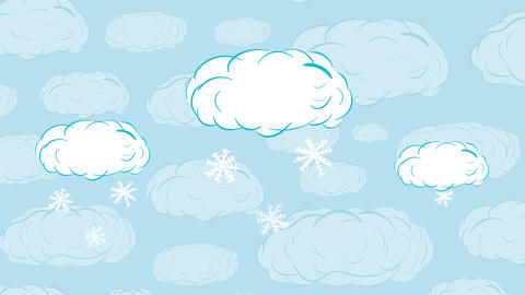 Snow in clouds falls Animation