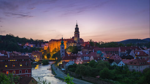 Day to night timelapse of Cesky Krumlov old town in Czech Republic time lapse Footage