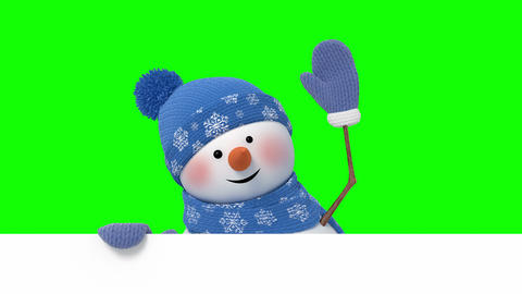 Funny Snowman Looks Out and Greeting on a Green Background Animation