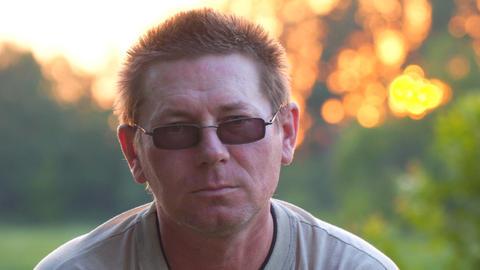 Portrait of a man in dark glasses Footage