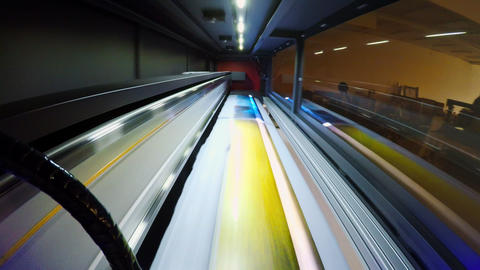 POV shot inside a large format printer printing at high speed GIF