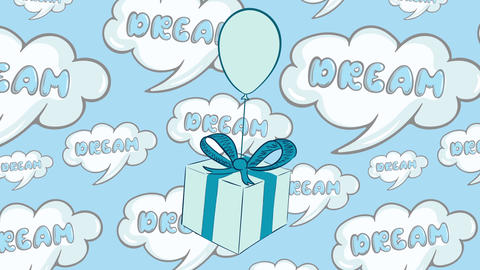 Blue gift box in dreams Animation