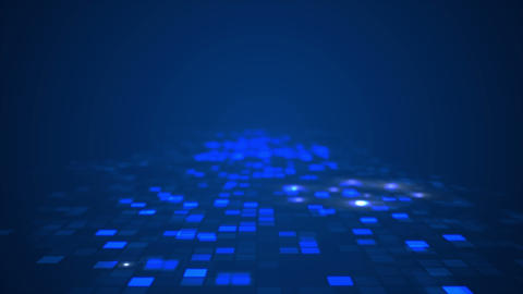 Abstract blue flashing rectangle grid flowing perspective motion graphic CG動画素材