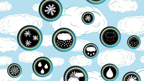 The falling weather icons and clouds Animation