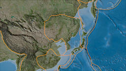 Amur tectonic plate. Satellite imagery B. Borders first. Van der Grinten Animation