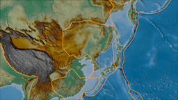 Amur tectonic plate. Relief. Borders first. Van der Grinten projection Animation
