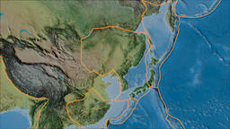 Amur tectonic plate. Topography. Borders first. Van der Grinten projection Animation
