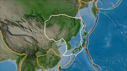 Amur tectonic plate. Satellite imagery A. Stroke first. Van der Grinten Animation