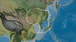 Amur tectonic plate. Topography. Stroke first. Van der Grinten projection Animation