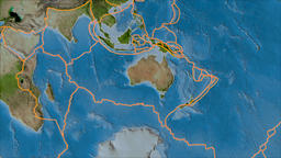 Australian tectonic plate. Satellite imagery A. Borders first. Van der Grinten Animation