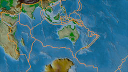 Australian tectonic plate. Physical. Borders first. Van der Grinten projection Animation