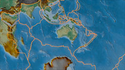 Australian tectonic plate. Relief. Borders first. Van der Grinten projection Animation