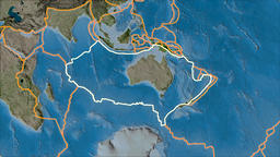 Australian tectonic plate. Satellite imagery B. Stroke first. Van der Grinten Animation