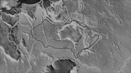 Australian tectonic plate. Elevation grayscale. Stroke first. Van der Grinten Animation