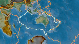 Australian tectonic plate. Relief. Stroke first. Van der Grinten projection Animation