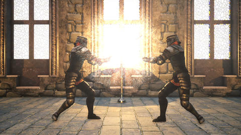 Two knights in medieval armor fight with magical swords Animation