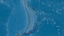 Mariana tectonic plate. Satellite imagery A. Borders first. Van der Grinten Animation